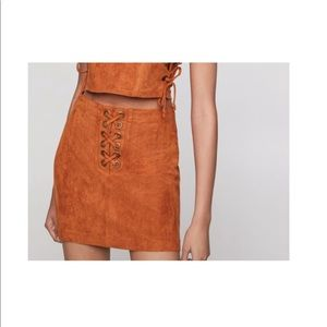 Faux Suede Lace Up Skirt, Size 2